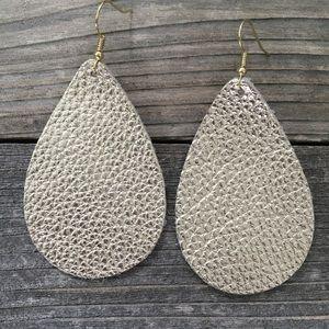Gold Metallic Leather Teardrop Earrings
